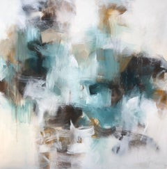 Cloud, Large Mixed Media on Canvas Abstract Painting of Square Format
