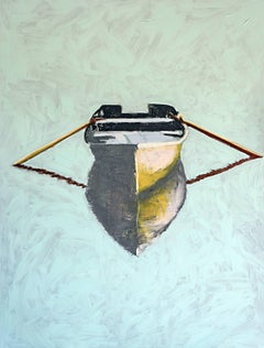 Tell Me, Contemporary Oil on Canvas Boat Painting of Vertical Format