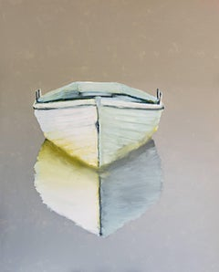 Few Words, Large Vertical Contemporary Oil on Canvas Boat Painting