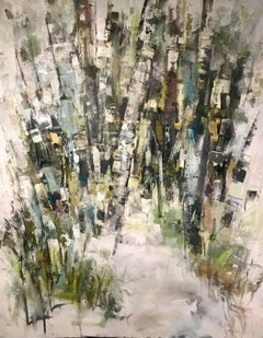 Searching, Large Framed Vertical Abstracted Birch Trees Oil on Canvas Painting