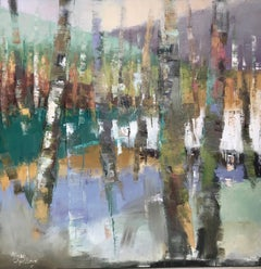 Let Somebody Love You, Large Framed Oil on Canvas Abstracted Birch Trees