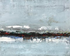 Cool Reflection, Large Horizontal Abstract Mixed Media on Canvas Painting