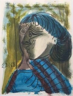 Deux Visages en Bleu, Small Mixed Media on Paper Cubist Painting
