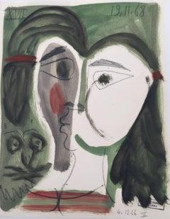 Visage en Forme de Coeur, Small Mixed Media on Paper Cubist Painting