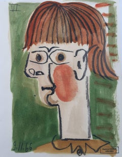 Femme Rougissante, Small Mixed Media on Paper Cubist Painting