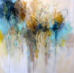 The Garden Wall, Debora Stewart Large Abstract Acrylic on Canvas Painting