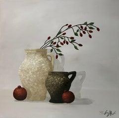 Autumn Shadows, Susan Kinsella 2018 Still-Life Oil on Canvas with Pomegranates