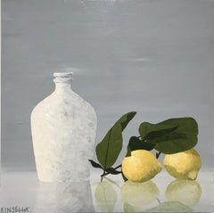 Bright Reflections, Susan Kinsella Oil on Canvas 2018 Still-Life with Lemons