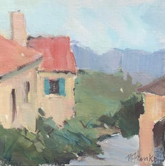 View from Gordes, Petite Square Framed Impressionist Painting