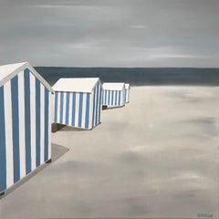 Bleu et Blanc, Susan Kinsella 2018 Oil on Canvas Figurative Beach Painting