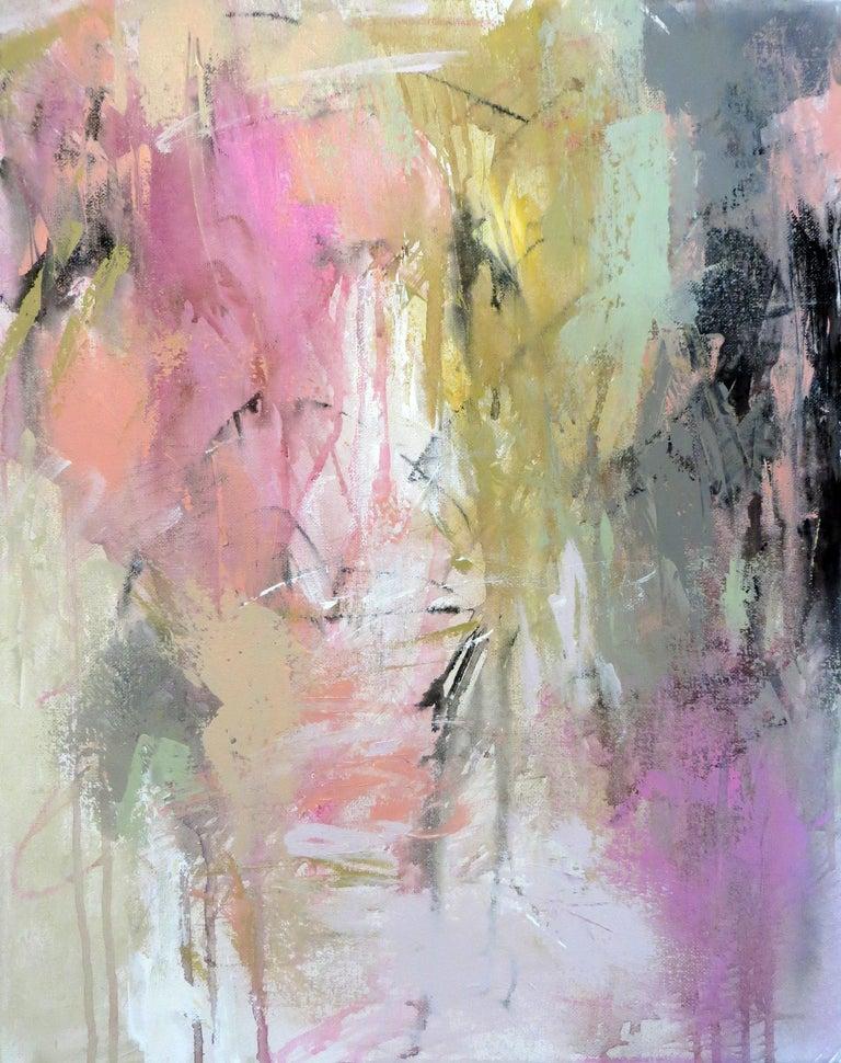 Raspberries and Mint II, Debora Stewart Petite Vertical Abstract Painting