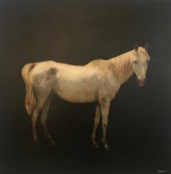 Blanc Beauty, Dawne Raulet Contemporary Mixed Media on Board Horse Painting