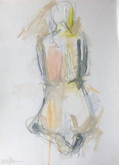 Gratitude, Kelley Ogburn 2018 Petite Vertical Nude Painting on Paper