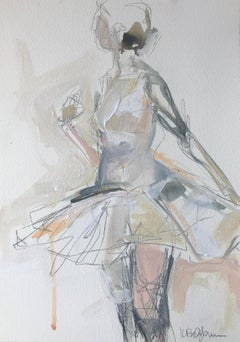 Dancer #2, Petite Vertical Ballerina Painting on Paper
