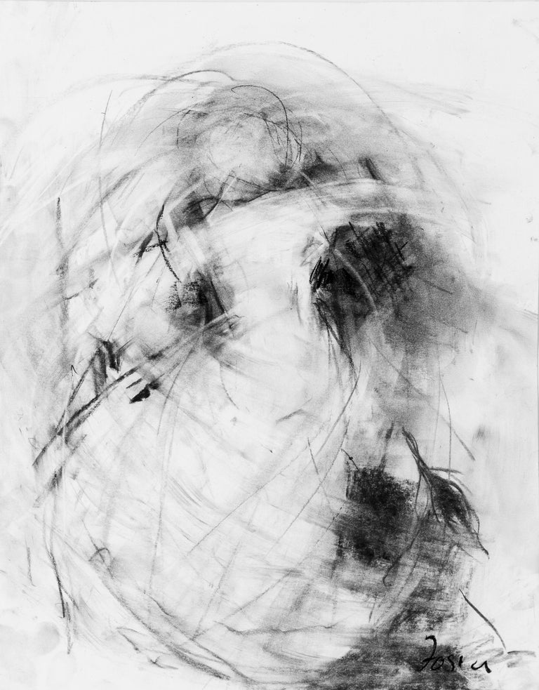 Currents II by Gail Foster 2018 Petite Framed Charcoal on Paper Figurative