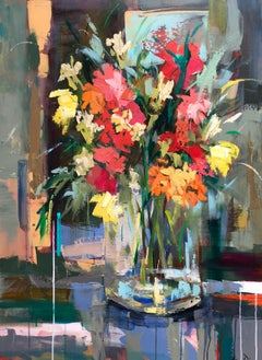 Ferry Building Flower Market, Amy Dixon 2018 Abstract Floral Still-Life Painting