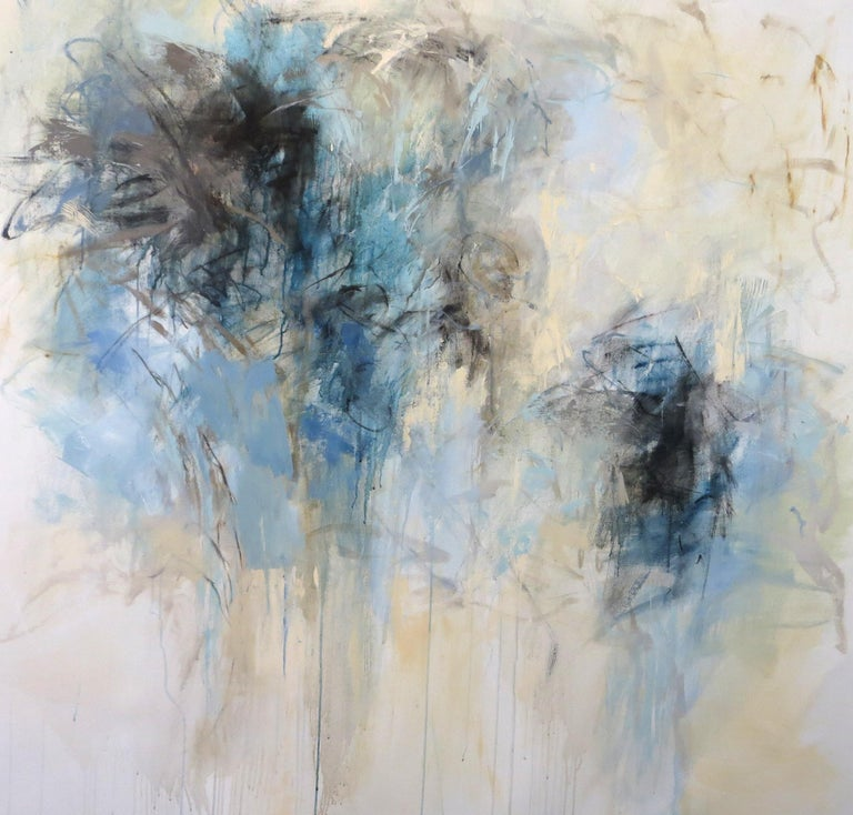 Blue Garden, Debora Stewart Large Abstract Botanical Acrylic on Canvas Painting - Gray Abstract Painting by Debora Stewart