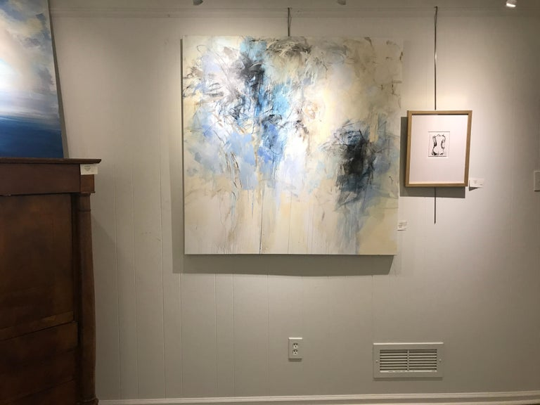 'Blue Garden' is a large acrylic on canvas abstract botanical painting created by American artist Debora Stewart in 2018. Featuring an exquisite palette with a cold tonality made of blue, white, grey colors beautifully accented with black and ocher
