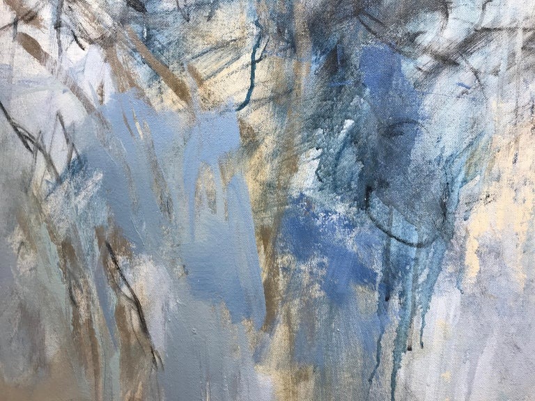 Blue Garden, Debora Stewart Large Abstract Botanical Acrylic on Canvas Painting For Sale 2