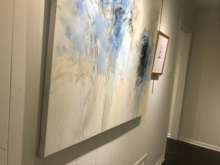 Blue Garden, Debora Stewart Large Abstract Botanical Acrylic on Canvas Painting For Sale 6