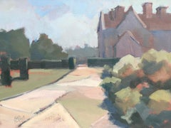 Manor House and Garden, Lesley Powell Framed Oil on Linen Landscape Painting
