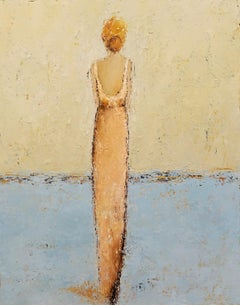 Emma, Geri Eubanks 2018 Impressionist Figurative Oil on Canvas Framed Painting