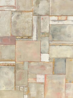 Rectangle Symphony, Maureen Naughton Abstract Encaustic and Gold Leaf on Board