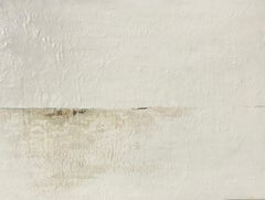 White Horizon, Maureen Naughton Framed Abstract Encaustic and Gold Leaf on Board