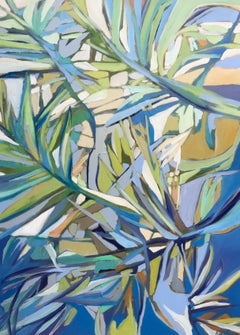 Coastal Palm, Kelli Kaufman Vertical Framed Oil and Wax on Canvas Painting