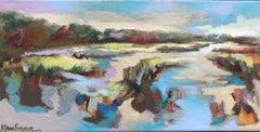 Marsh at Dusk, Kelli Kaufman Oil and Wax on Canvas Mounted on Panel Painting