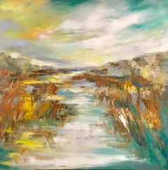 Marsh Pathway, Kelli Kaufman Large Framed Oil and Wax Landscape Painting