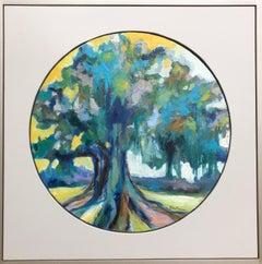 Oak I, Kelli Kaufman Framed Oil and Wax on Canvas Landscape Medallion Painting