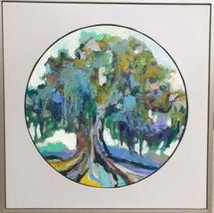 Oak II, Kelli Kaufman Framed Landscape Oil and Wax on Canvas Painting