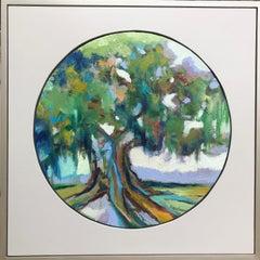 Oak III, Kelli Kaufman Framed Oil and Wax on Canvas Circular Landscape Painting