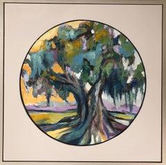 Oak IV, Kelli Kaufman Circular Framed Oil and Wax on Canvas Landscape Painting