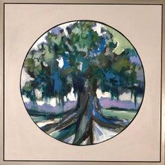 Oak V, Kelli Kaufman Oil and Wax on Canvas Framed Landscape Medallion Painting