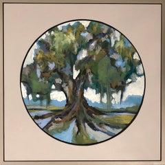 Oak VI, Kelli Kaufman Framed Oil and Wax on Canvas Landscape Medallion Painting