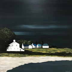 Village on the Green, Susan Kinsella Square Contemporary Landscape Painting