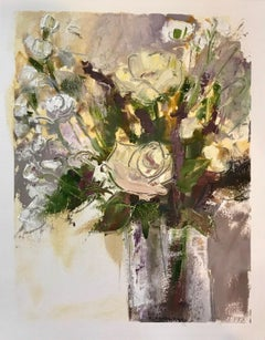 Chromatic Floral Study by Allison Chambers, Mixed Media on Paper Floral Painting
