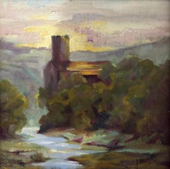 Lagrasse Afternoon by Julie Houck, Framed Oil on Linen Landscape Painting