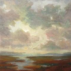 Moody Morning by Julie Houck, Framed Post-Impressionist Landscape Painting