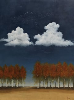 Parallel Dreams by Jim Seitz, Large Minimalist Landscape Painting with Gold Leaf