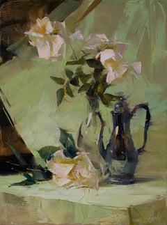 Green Harmony by Ignat Ignatov, Framed Vertical Still-Life Floral Oil Painting