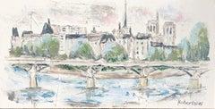 Pont des Arts Over River Seine, Sarah Robertson Impressionist Parisian Scene
