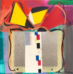 Sussie I by Amy Dixon, small square abstract present painting on canvas