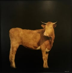 Brown Cow by Dawne Raulet, Framed Contemporary Mixed Media on Board Painting