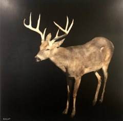 Buck by Dawne Raulet, Large Contemporary Framed Mixed Media on Board Painting