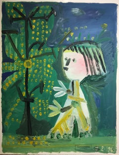 Enfant II by Raymond Debiève, Small Framed Naïve Mixed Media on Paper Painting