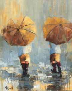 Rainy Day Boys, Impressionist Figurative Oil on Canvas Painting, Signed