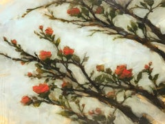 'Anew', Oil on Board Chinoiserie Influenced Painting Depicting a Blooming Tree